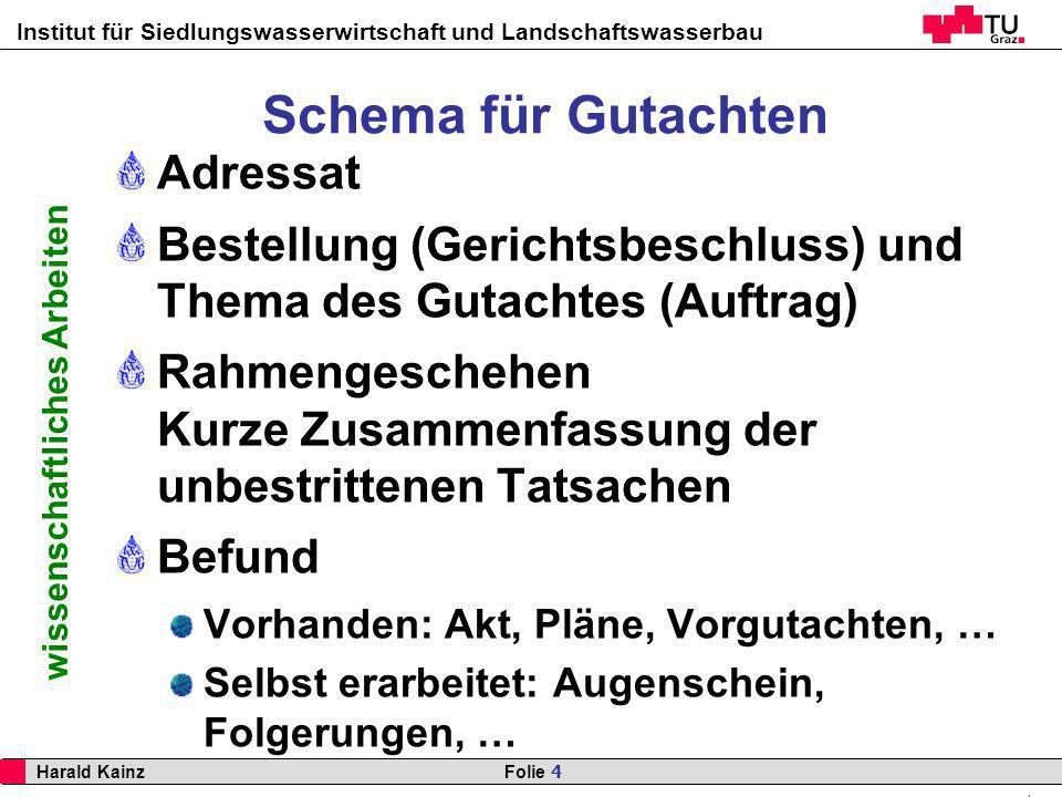 Institut für Siedlungswasserwirtschaft und Landschaftswasserbau 4 Harald Kainz Folie 4 wissenschaftliches Arbeiten Schema für Gutachten Adressat Beste