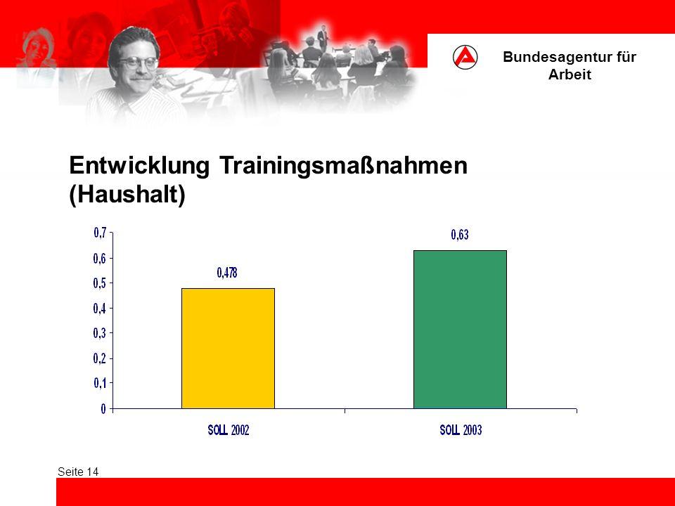 Bundesagentur für Arbeit Seite 14 Entwicklung Trainingsmaßnahmen (Haushalt)