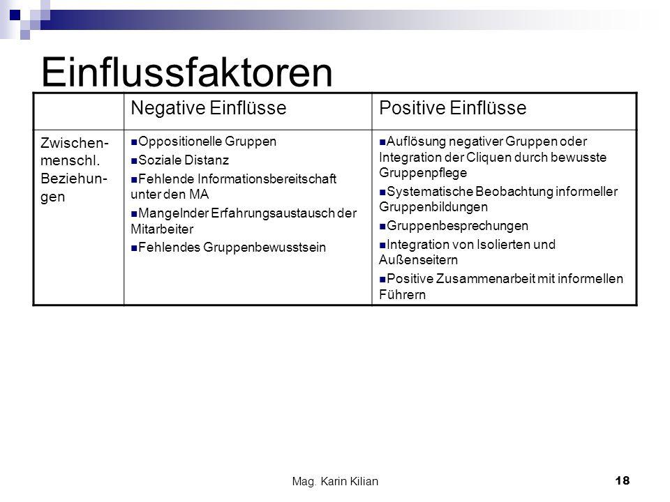 Mag. Karin Kilian 18 Einflussfaktoren Negative EinflüssePositive Einflüsse Zwischen- menschl. Beziehun- gen Oppositionelle Gruppen Soziale Distanz Feh