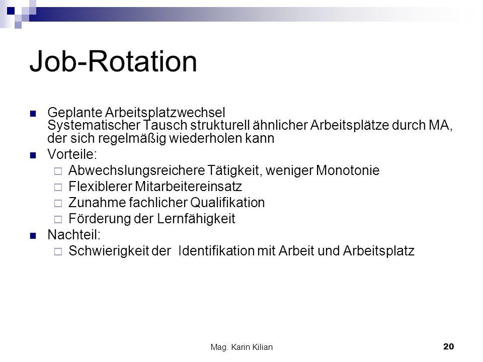 Mag. Karin Kilian 20 Job-Rotation Geplante Arbeitsplatzwechsel Systematischer Tausch strukturell ähnlicher Arbeitsplätze durch MA, der sich regelmäßig