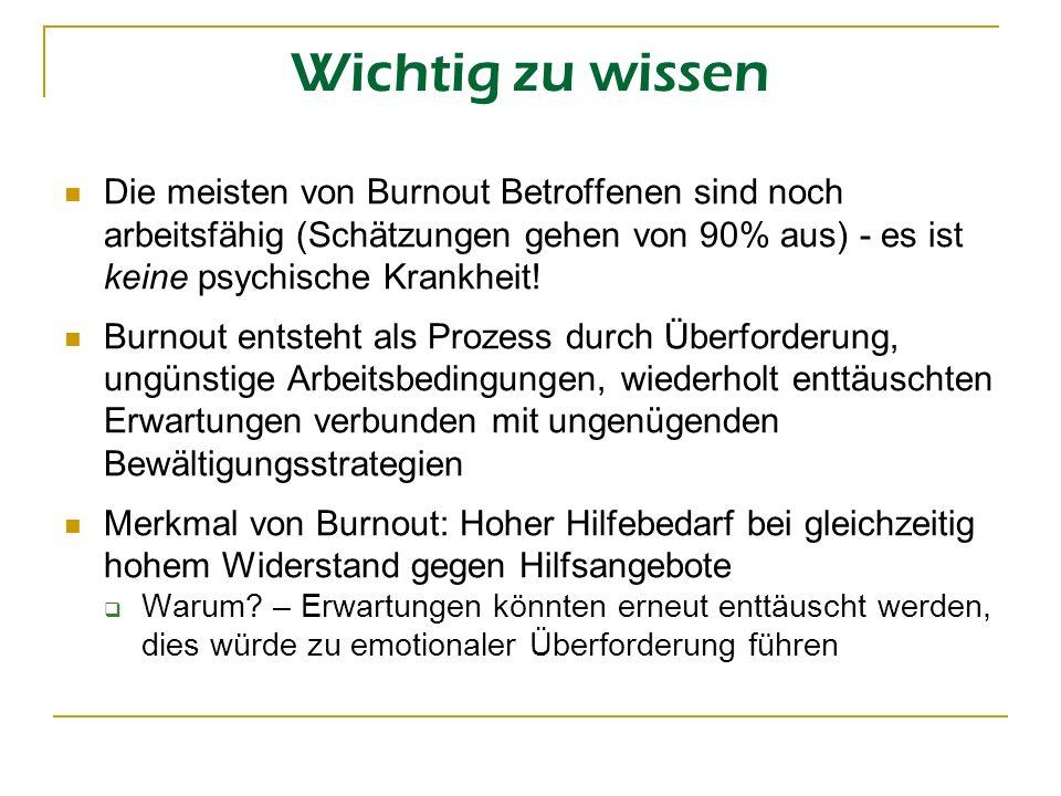 Wichtig zu wissen Die meisten von Burnout Betroffenen sind noch arbeitsfähig (Schätzungen gehen von 90% aus) - es ist keine psychische Krankheit! Burn