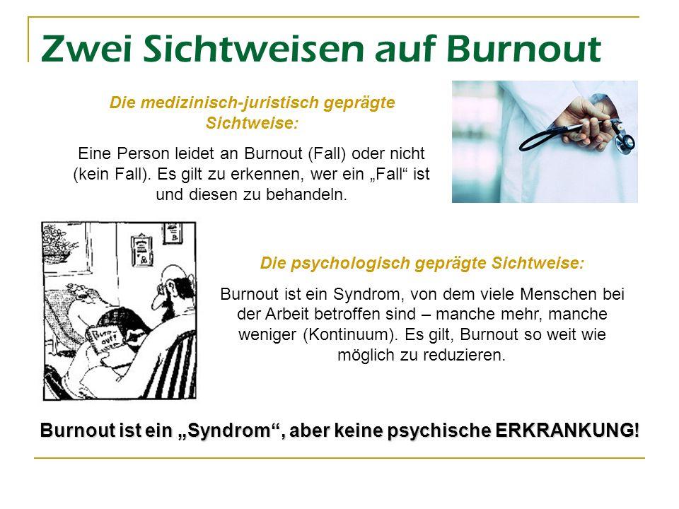 Zwei Sichtweisen auf Burnout Die medizinisch-juristisch geprägte Sichtweise: Eine Person leidet an Burnout (Fall) oder nicht (kein Fall). Es gilt zu e