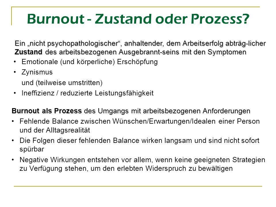 Burnout - Zustand oder Prozess? Emotionale (und körperliche) Erschöpfung Zynismus und (teilweise umstritten) Ineffizienz / reduzierte Leistungsfähigke