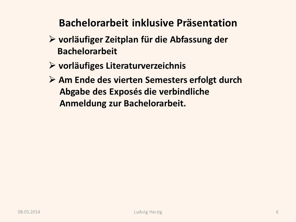 Bachelorarbeit inklusive Präsentation 6.