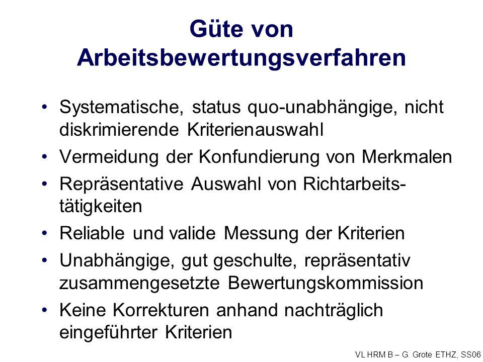 VL HRM B – G. Grote ETHZ, SS06 Güte von Arbeitsbewertungsverfahren Systematische, status quo-unabhängige, nicht diskrimierende Kriterienauswahl Vermei