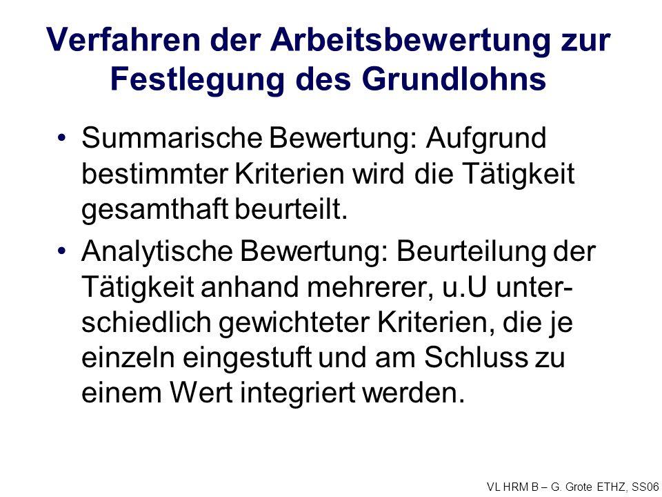 VL HRM B – G. Grote ETHZ, SS06 Verfahren der Arbeitsbewertung zur Festlegung des Grundlohns Summarische Bewertung: Aufgrund bestimmter Kriterien wird