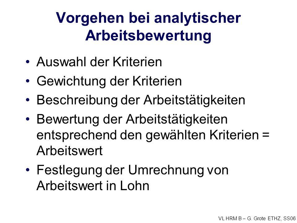 VL HRM B – G. Grote ETHZ, SS06 Vorgehen bei analytischer Arbeitsbewertung Auswahl der Kriterien Gewichtung der Kriterien Beschreibung der Arbeitstätig