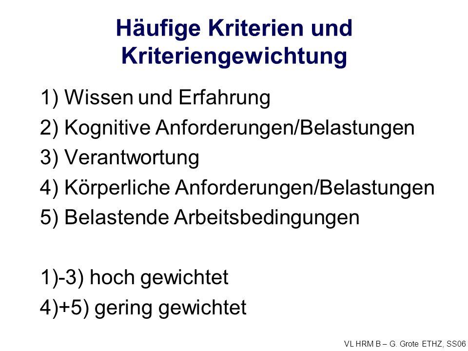 VL HRM B – G. Grote ETHZ, SS06 Häufige Kriterien und Kriteriengewichtung 1) Wissen und Erfahrung 2) Kognitive Anforderungen/Belastungen 3) Verantwortu