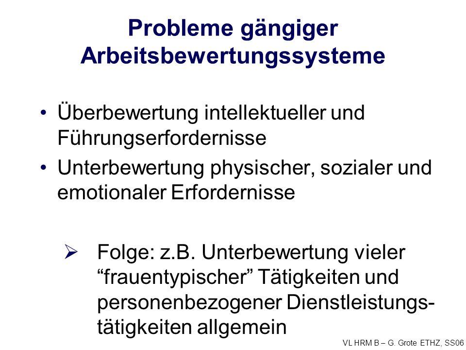 VL HRM B – G. Grote ETHZ, SS06 Probleme gängiger Arbeitsbewertungssysteme Überbewertung intellektueller und Führungserfordernisse Unterbewertung physi