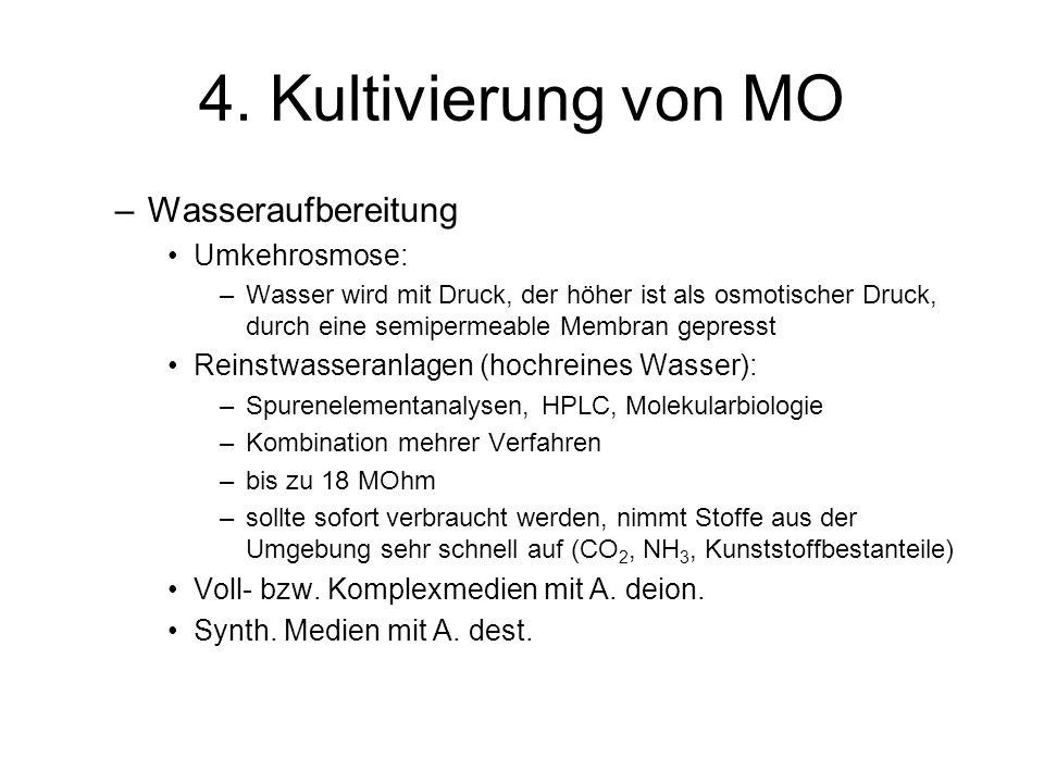4. Kultivierung von MO –Wasseraufbereitung Umkehrosmose: –Wasser wird mit Druck, der höher ist als osmotischer Druck, durch eine semipermeable Membran