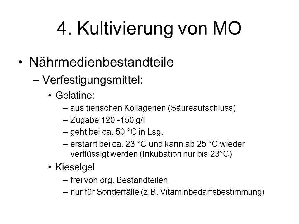 4. Kultivierung von MO Nährmedienbestandteile –Verfestigungsmittel: Gelatine: –aus tierischen Kollagenen (Säureaufschluss) –Zugabe 120 -150 g/l –geht