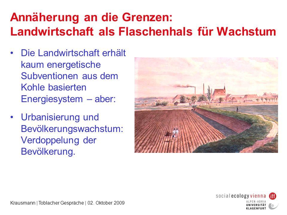 Krausmann | Toblacher Gespräche | 02. Oktober 2009 Annäherung an die Grenzen: Landwirtschaft als Flaschenhals für Wachstum Die Landwirtschaft erhält k