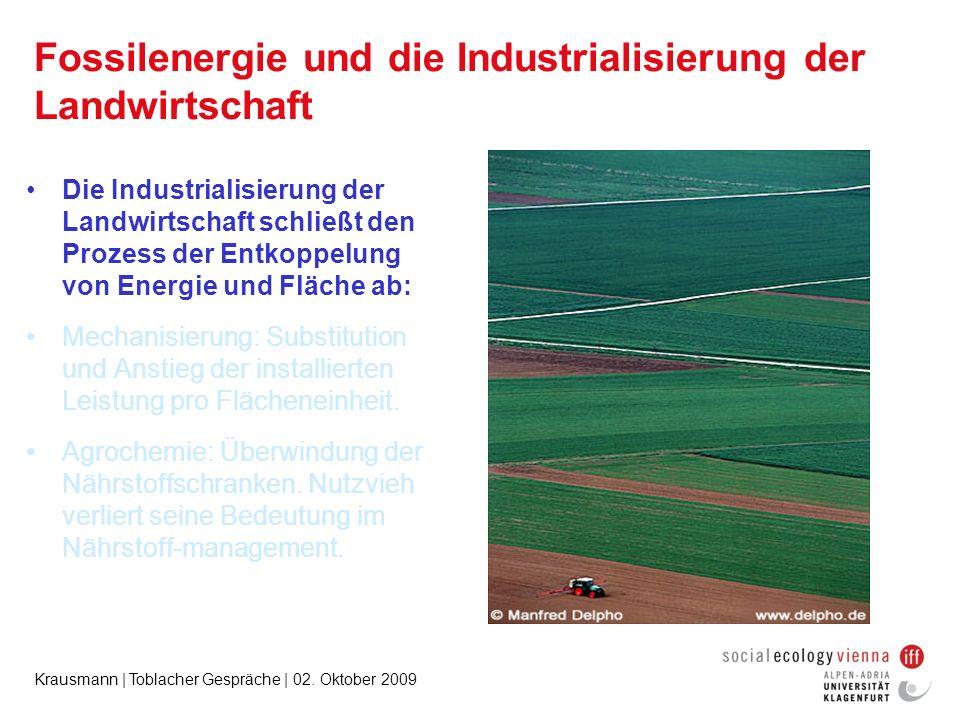 Krausmann | Toblacher Gespräche | 02. Oktober 2009 Fossilenergie und die Industrialisierung der Landwirtschaft Die Industrialisierung der Landwirtscha