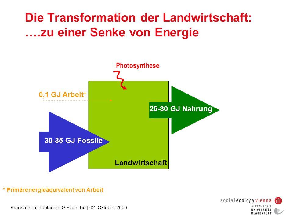 Krausmann | Toblacher Gespräche | 02. Oktober 2009 Photosynthese 0,1 GJ Arbeit* 25-30 GJ Nahrung 30-35 GJ Fossile Landwirtschaft Die Transformation de