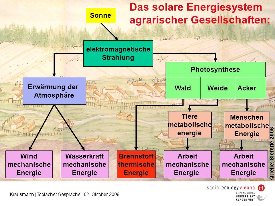 Krausmann | Toblacher Gespräche | 02. Oktober 2009 elektromagnetische Strahlung Photosynthese Brennstoff thermische Energie Arbeit mechanische Energie