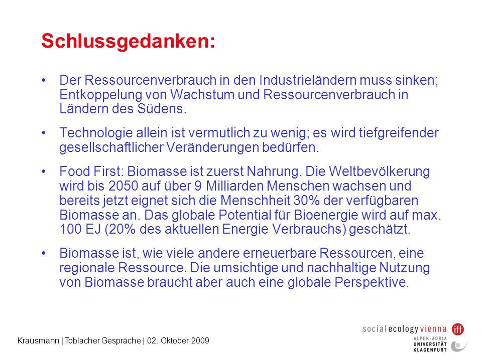 Krausmann | Toblacher Gespräche | 02. Oktober 2009 Schlussgedanken: Der Ressourcenverbrauch in den Industrieländern muss sinken; Entkoppelung von Wach