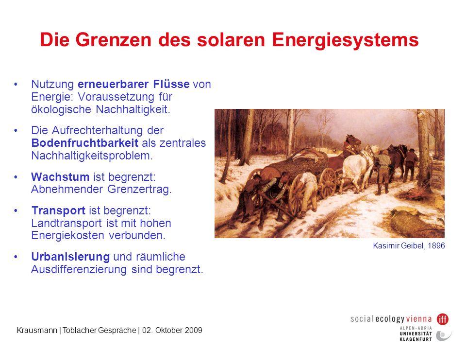 Krausmann | Toblacher Gespräche | 02. Oktober 2009 Die Grenzen des solaren Energiesystems Nutzung erneuerbarer Flüsse von Energie: Voraussetzung für ö