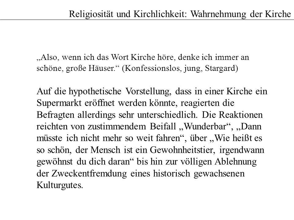 Religiosität und Kirchlichkeit: Wahrnehmung der Kirche Also, wenn ich das Wort Kirche höre, denke ich immer an schöne, große Häuser. (Konfessionslos,