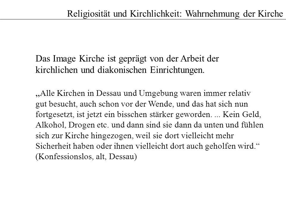 Das Image Kirche ist geprägt von der Arbeit der kirchlichen und diakonischen Einrichtungen. Alle Kirchen in Dessau und Umgebung waren immer relativ gu