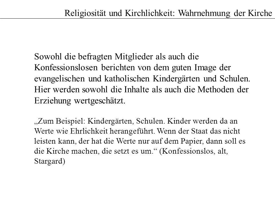 Sowohl die befragten Mitglieder als auch die Konfessionslosen berichten von dem guten Image der evangelischen und katholischen Kindergärten und Schule