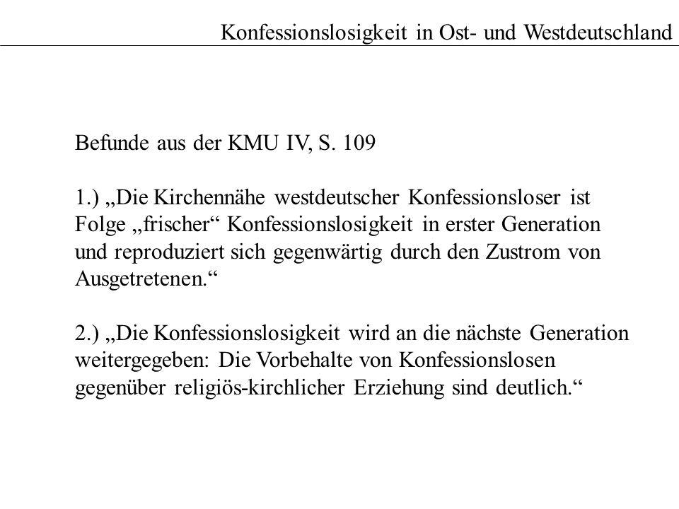 Befunde aus der KMU IV, S. 109 1.) Die Kirchennähe westdeutscher Konfessionsloser ist Folge frischer Konfessionslosigkeit in erster Generation und rep