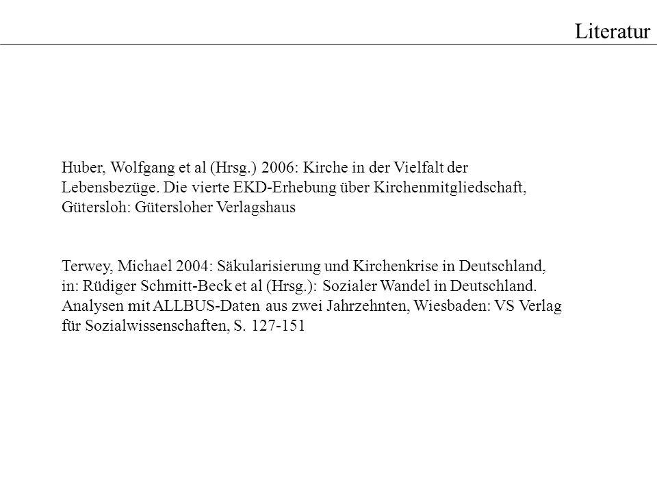 Literatur Huber, Wolfgang et al (Hrsg.) 2006: Kirche in der Vielfalt der Lebensbezüge. Die vierte EKD-Erhebung über Kirchenmitgliedschaft, Gütersloh: