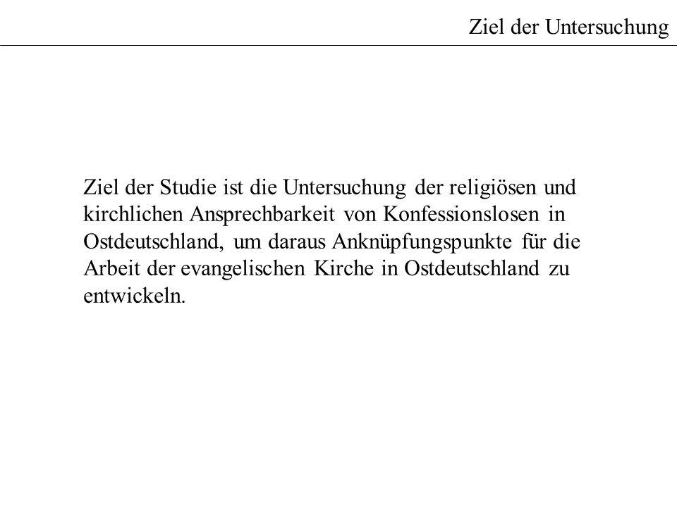 Ziel der Untersuchung Ziel der Studie ist die Untersuchung der religiösen und kirchlichen Ansprechbarkeit von Konfessionslosen in Ostdeutschland, um d