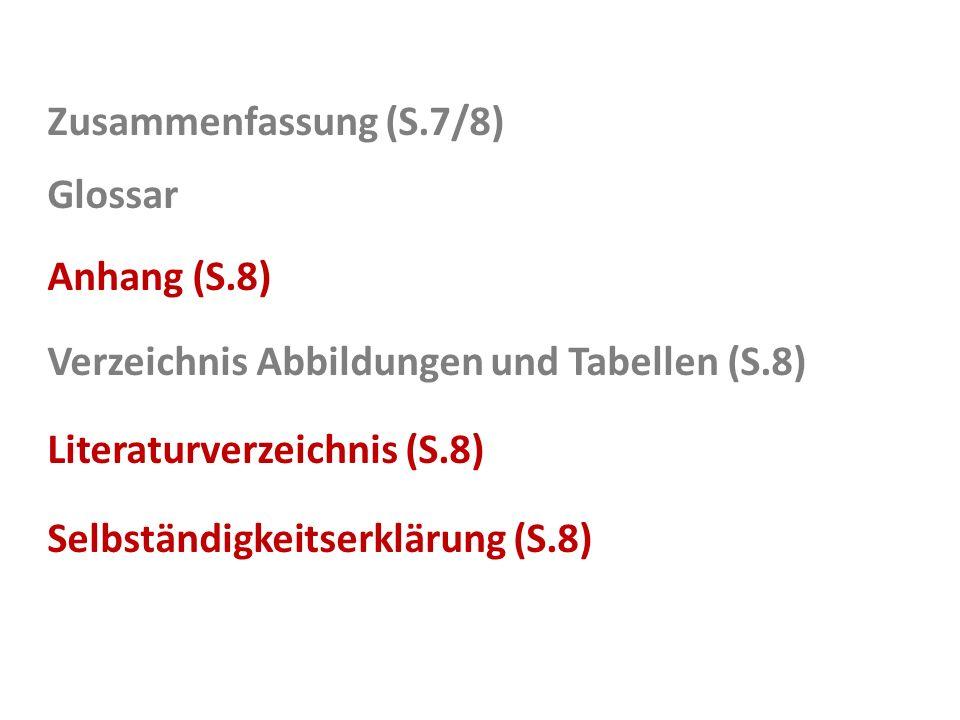 Zusammenfassung (S.7/8) Glossar Anhang (S.8) Verzeichnis Abbildungen und Tabellen (S.8) Literaturverzeichnis (S.8) Selbständigkeitserklärung (S.8)