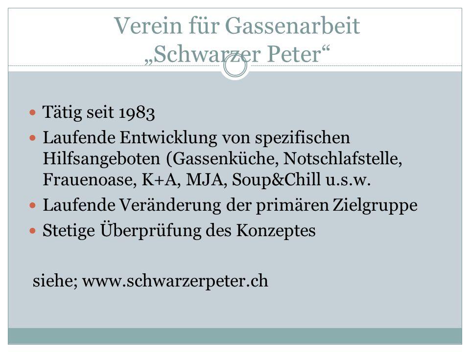 Verein für Gassenarbeit Schwarzer Peter Tätig seit 1983 Laufende Entwicklung von spezifischen Hilfsangeboten (Gassenküche, Notschlafstelle, Frauenoase