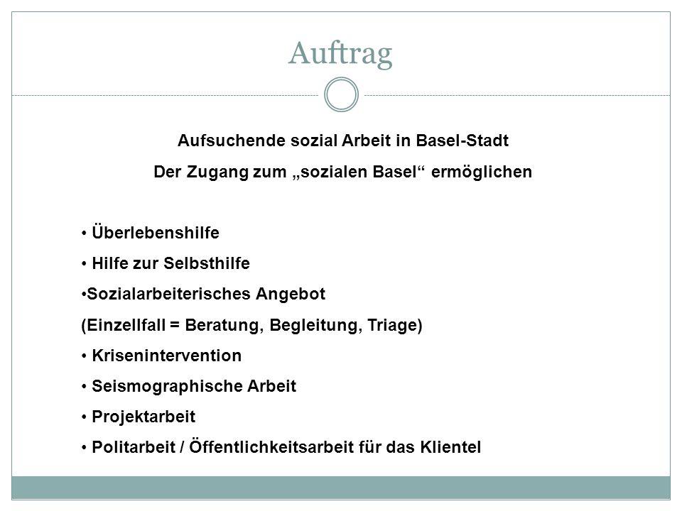 Auftrag Aufsuchende sozial Arbeit in Basel-Stadt Der Zugang zum sozialen Basel ermöglichen Überlebenshilfe Hilfe zur Selbsthilfe Sozialarbeiterisches