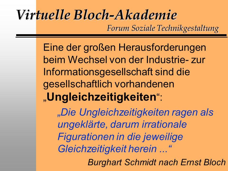 Virtuelle Bloch-Akademie Forum Soziale Technikgestaltung Eine der großen Herausforderungen beim Wechsel von der Industrie- zur Informationsgesellschaft sind die gesellschaftlich vorhandenen Ungleichzeitigkeiten : Die Ungleichzeitigkeiten ragen als ungeklärte, darum irrationale Figurationen in die jeweilige Gleichzeitigkeit herein...