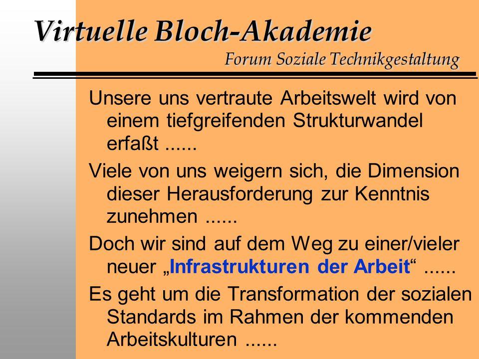 Virtuelle Bloch-Akademie Forum Soziale Technikgestaltung Unsere uns vertraute Arbeitswelt wird von einem tiefgreifenden Strukturwandel erfaßt......