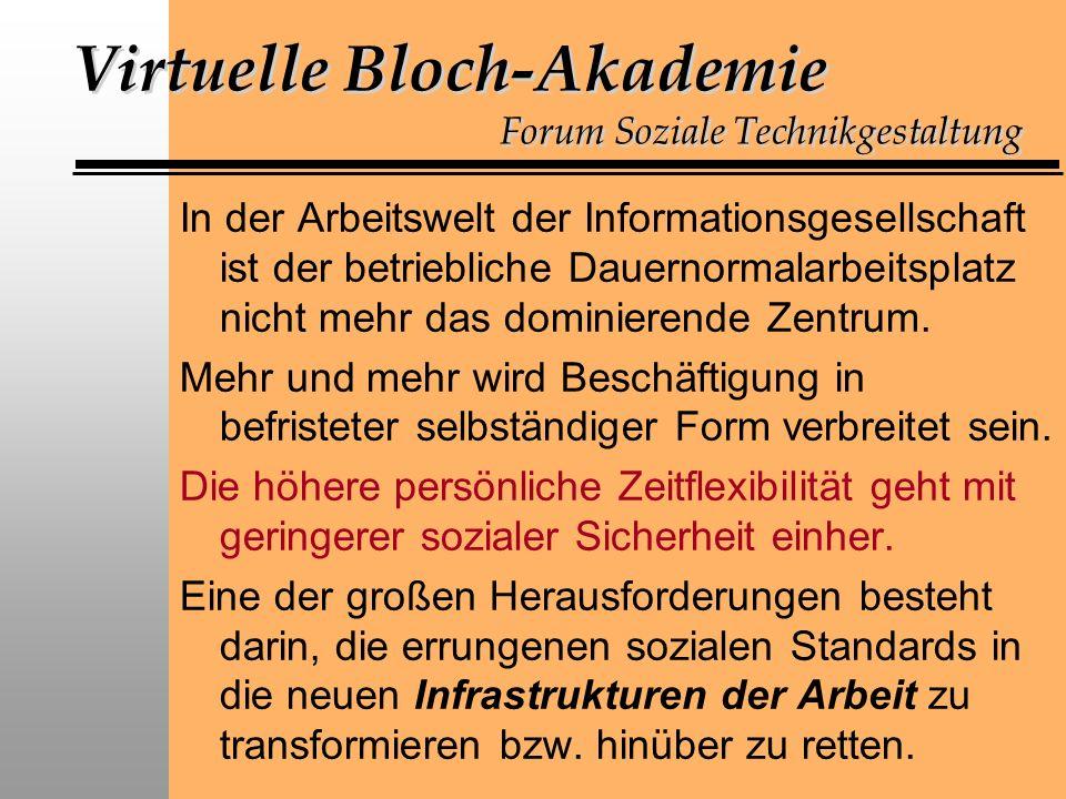 Virtuelle Bloch-Akademie Forum Soziale Technikgestaltung In der Arbeitswelt der Informationsgesellschaft ist der betriebliche Dauernormalarbeitsplatz nicht mehr das dominierende Zentrum.