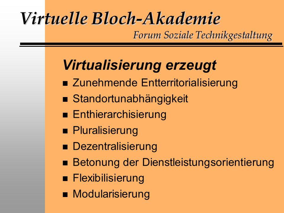 Virtuelle Bloch-Akademie Forum Soziale Technikgestaltung Virtualisierung erzeugt n Zunehmende Entterritorialisierung n Standortunabhängigkeit n Enthierarchisierung n Pluralisierung n Dezentralisierung n Betonung der Dienstleistungsorientierung n Flexibilisierung n Modularisierung