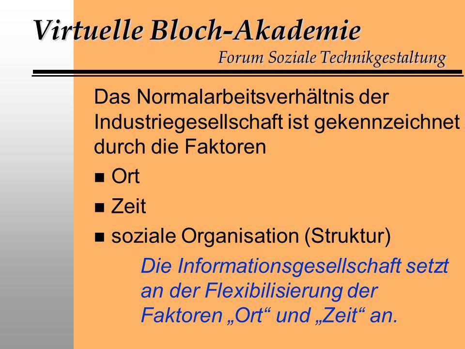 Virtuelle Bloch-Akademie Forum Soziale Technikgestaltung Das Normalarbeitsverhältnis der Industriegesellschaft ist gekennzeichnet durch die Faktoren n Ort n Zeit n soziale Organisation (Struktur) Die Informationsgesellschaft setzt an der Flexibilisierung der Faktoren Ort und Zeit an.