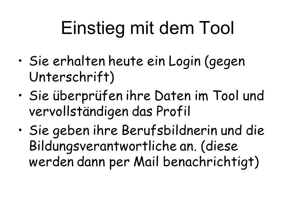 Einstieg mit dem Tool Sie erhalten heute ein Login (gegen Unterschrift) Sie überprüfen ihre Daten im Tool und vervollständigen das Profil Sie geben ih