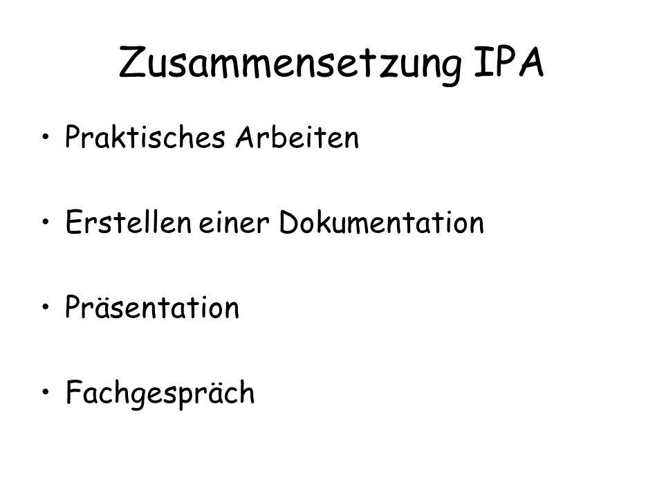 Zusammensetzung IPA Praktisches Arbeiten Erstellen einer Dokumentation Präsentation Fachgespräch