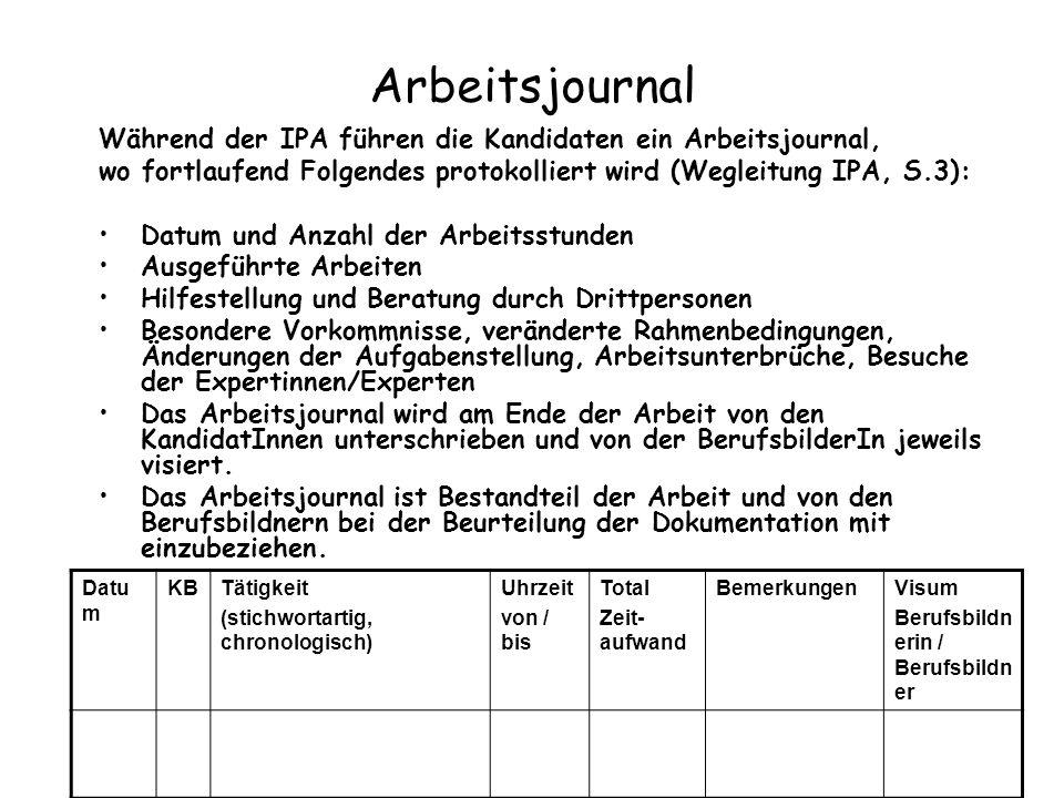 Arbeitsjournal Während der IPA führen die Kandidaten ein Arbeitsjournal, wo fortlaufend Folgendes protokolliert wird (Wegleitung IPA, S.3): Datum und
