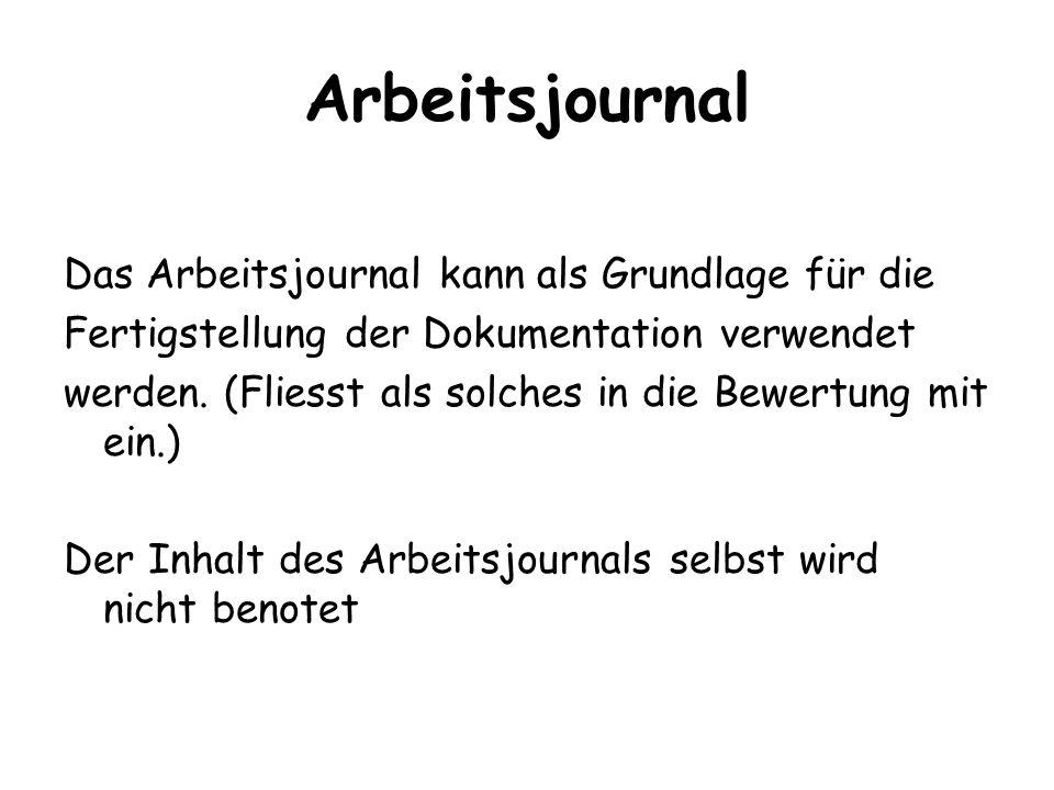 Arbeitsjournal Das Arbeitsjournal kann als Grundlage für die Fertigstellung der Dokumentation verwendet werden. (Fliesst als solches in die Bewertung