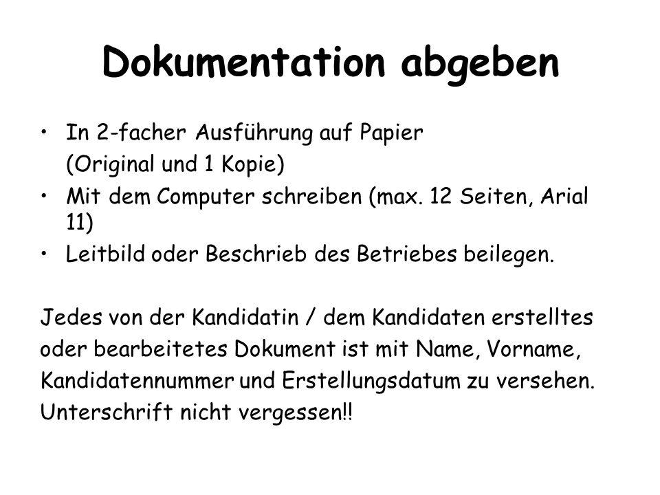 Dokumentation abgeben In 2-facher Ausführung auf Papier (Original und 1 Kopie) Mit dem Computer schreiben (max. 12 Seiten, Arial 11) Leitbild oder Bes