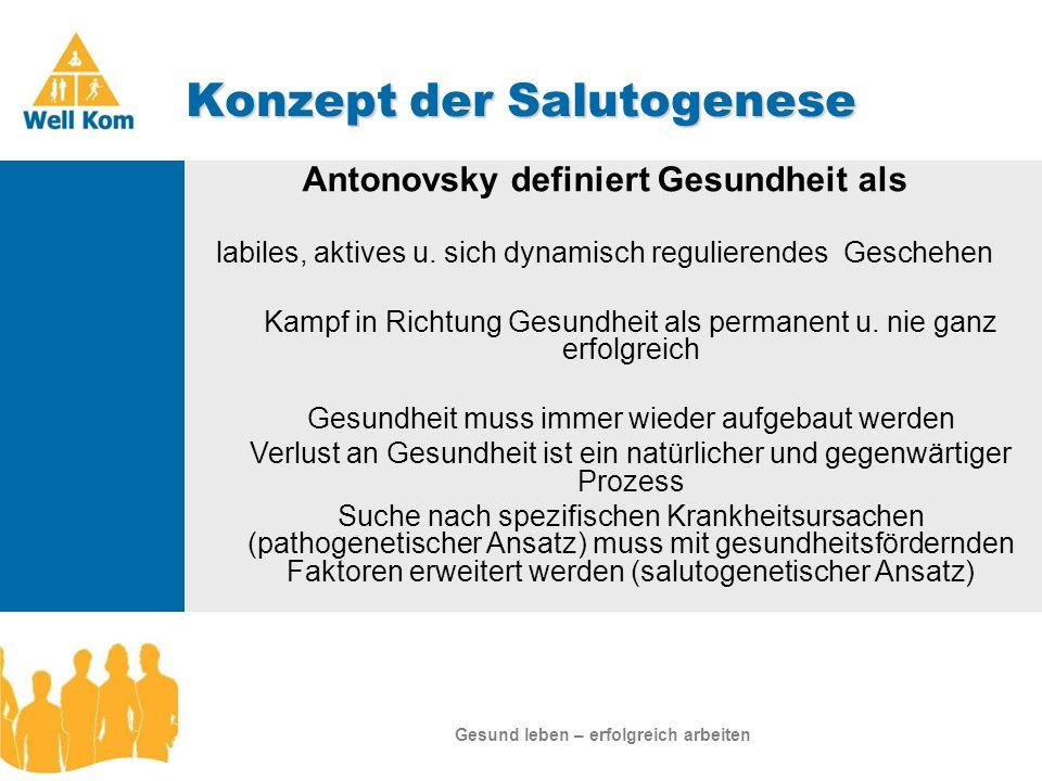 Konzept der Salutogenese Januar 2007 Antonovsky definiert Gesundheit als labiles, aktives u. sich dynamisch regulierendes Geschehen Kampf in Richtung