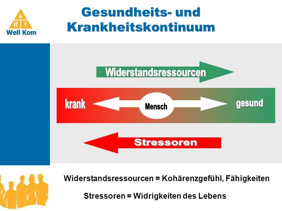 Gesundheits- und Krankheitskontinuum Januar 2007 Widerstandsressourcen = Kohärenzgefühl, Fähigkeiten Stressoren = Widrigkeiten des Lebens