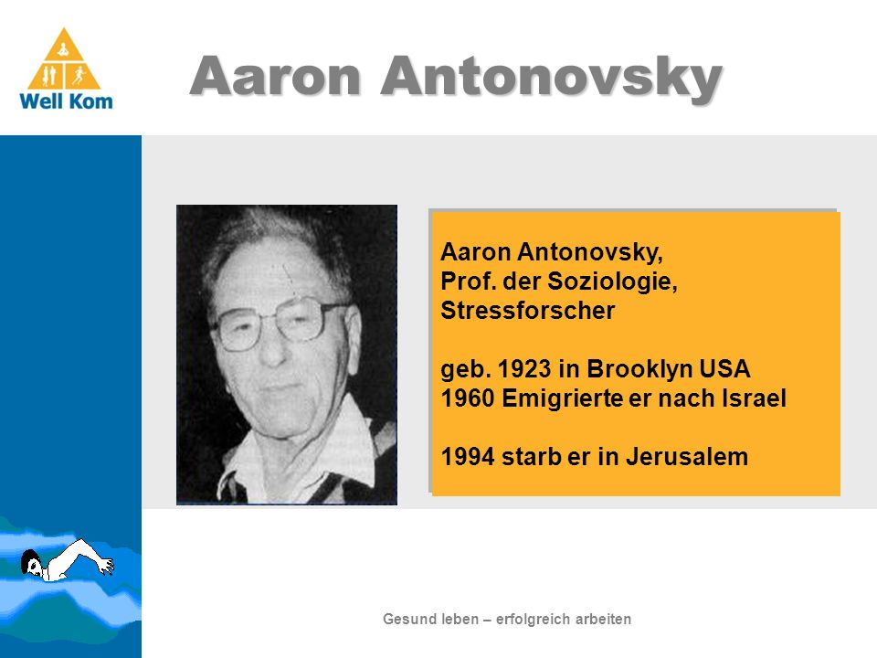 Aaron Antonovsky Aaron Antonovsky Januar 2007 Gesund leben – erfolgreich arbeiten Aaron Antonovsky, Prof. der Soziologie, Stressforscher geb. 1923 in