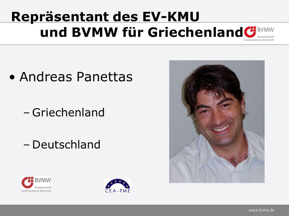 Repräsentant des EV-KMU und BVMW für Griechenland Andreas Panettas –Griechenland –Deutschland