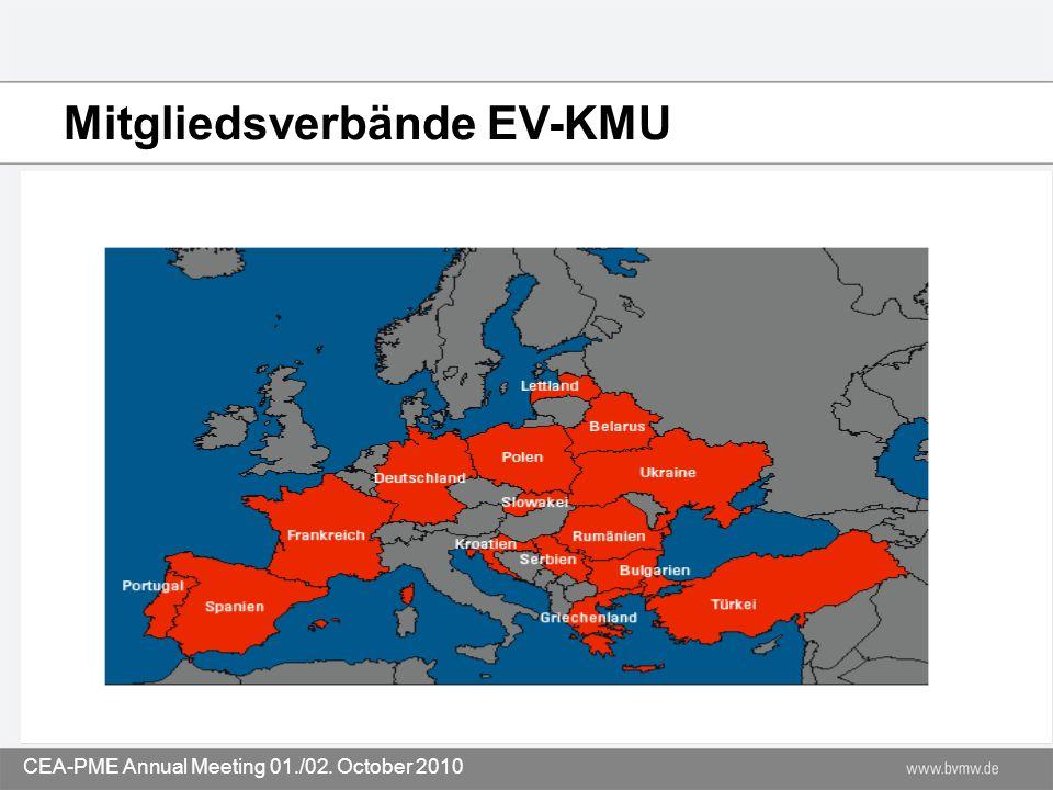 Mitgliedsverbände EV-KMU CEA-PME Annual Meeting 01./02. October 2010