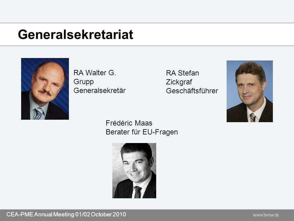 Generalsekretariat RA Stefan Zickgraf Geschäftsführer Frédéric Maas Berater für EU-Fragen RA Walter G. Grupp Generalsekretär CEA-PME Annual Meeting 01