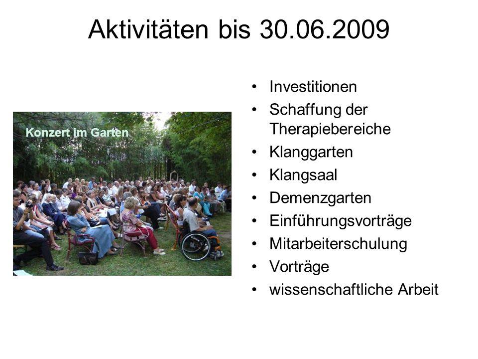 Aktivitäten bis 30.06.2009 Investitionen Schaffung der Therapiebereiche Klanggarten Klangsaal Demenzgarten Einführungsvorträge Mitarbeiterschulung Vorträge wissenschaftliche Arbeit Konzert im Garten