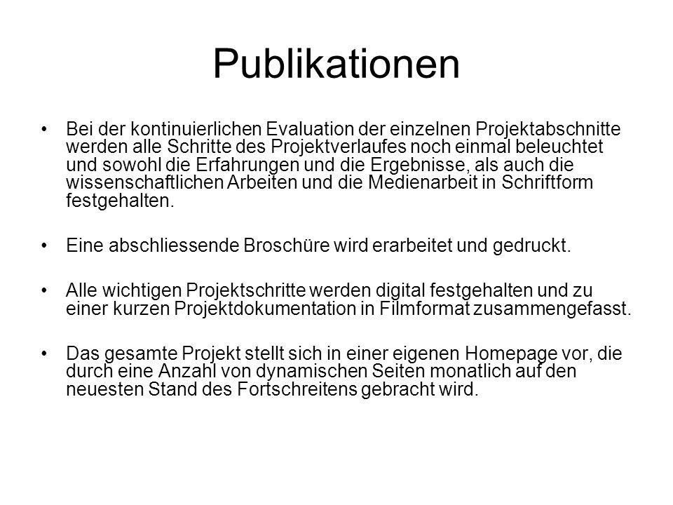 Publikationen Bei der kontinuierlichen Evaluation der einzelnen Projektabschnitte werden alle Schritte des Projektverlaufes noch einmal beleuchtet und sowohl die Erfahrungen und die Ergebnisse, als auch die wissenschaftlichen Arbeiten und die Medienarbeit in Schriftform festgehalten.
