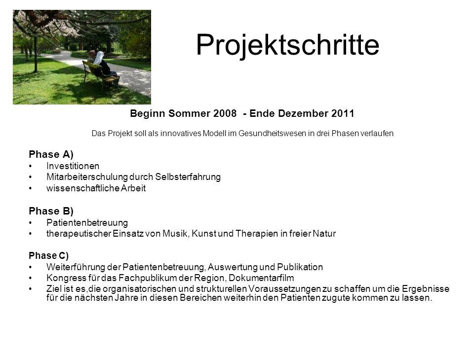 Projektschritte Beginn Sommer 2008 - Ende Dezember 2011 Das Projekt soll als innovatives Modell im Gesundheitswesen in drei Phasen verlaufen Phase A)