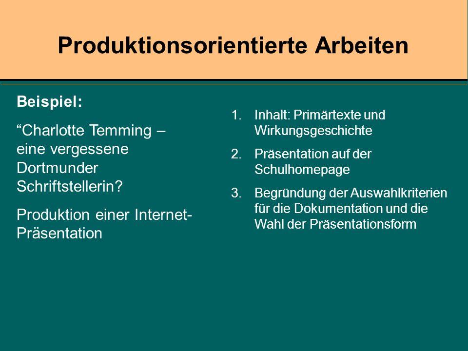 1.Inhalt: Primärtexte und Wirkungsgeschichte 2.Präsentation auf der Schulhomepage 3.Begründung der Auswahlkriterien für die Dokumentation und die Wahl